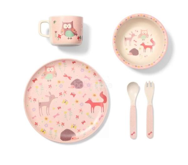 BabyOno 5-dílná bambusová sada dětského nádobí, Sovička - Forst Pink, 12m+
