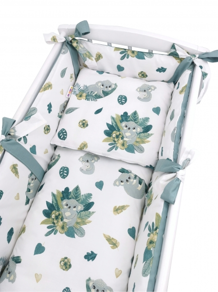 Baby Nellys 6-dílná sada do kolébky Tropical Koala, zelená, bílá