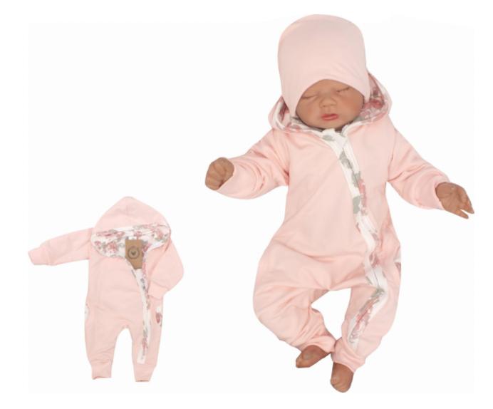 Z&Z Dětský teplákový dvouvrstvý overálek s kapucí, Květy, růžový