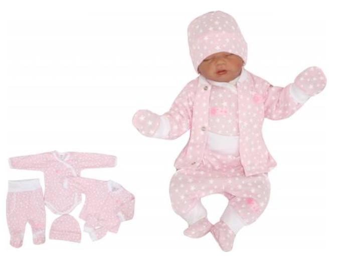 Z&Z 5-dílná soupravička do porodnice Hvězdička, růžová