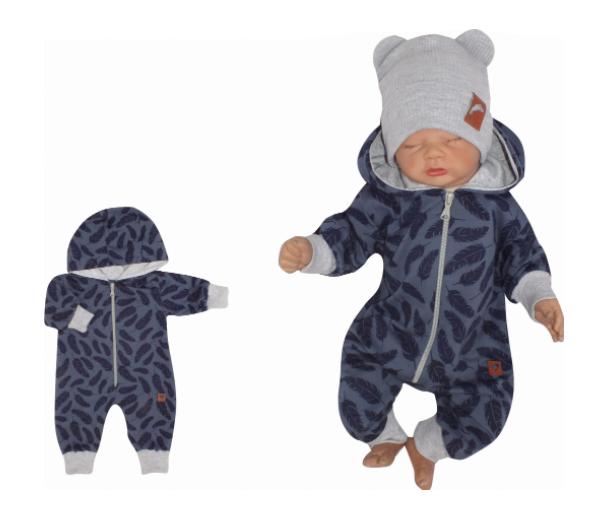 Z&Z Dětský teplákový overálek s kapucí, Pírka, modrý, vel. 68, Velikost: 68 (4-6m)