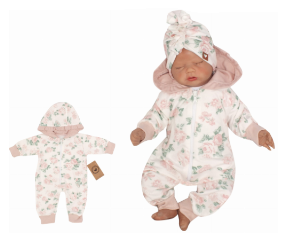 Z&Z Dětský teplákový overálek s kapucí, Květinka, růžová, Velikost: 56 (1-2m)