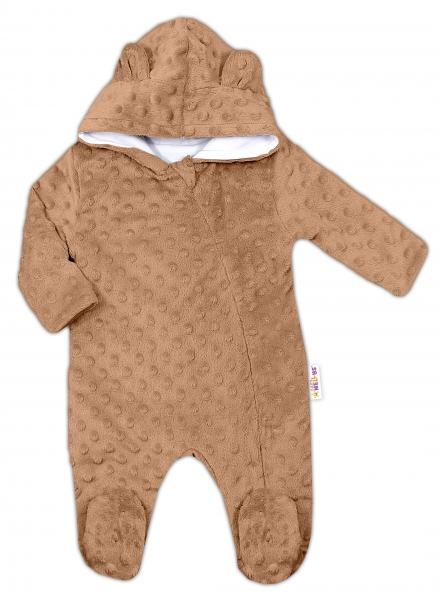 Baby Nellys Kombinézka/overálek MINKY s kapucí a oušky - karamel, hnědá, Vel. 68