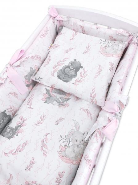 Baby Nellys 6-dílná sada do kolébky LULU natural, růžová