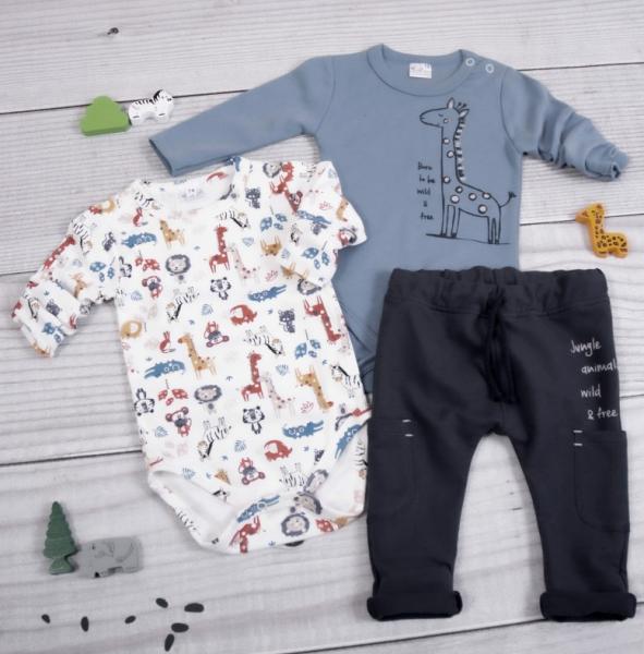 K-Baby 3-dílná sada - 2x body dl. rukáv,tepláčky, Safari žirafka, modrá, bílá, Vel. 68