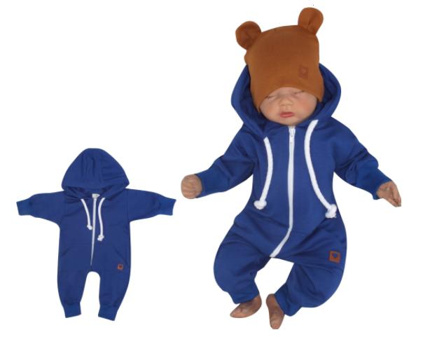 Z&Z Dětský teplákový overálek s kapucí, tm. modrý, Velikost: 56 (1-2m)