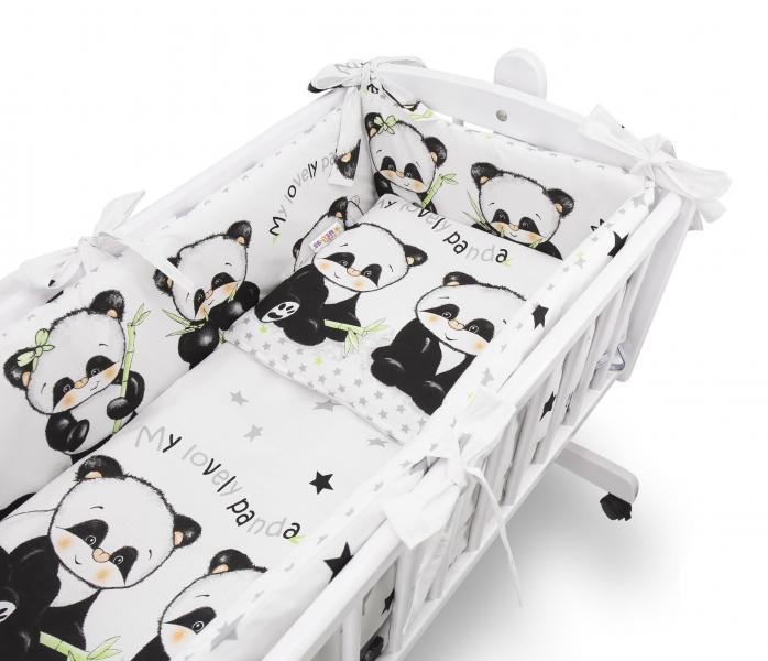 Baby Nellys 6-dílná sada do kolébky Panda, bílá