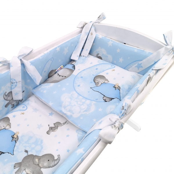 Baby Nellys 6-dílná sada do kolébky Baby Elephant, modrá