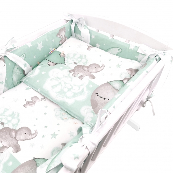 Baby Nellys 6-dílná sada do kolébky Baby Elephant, mátová