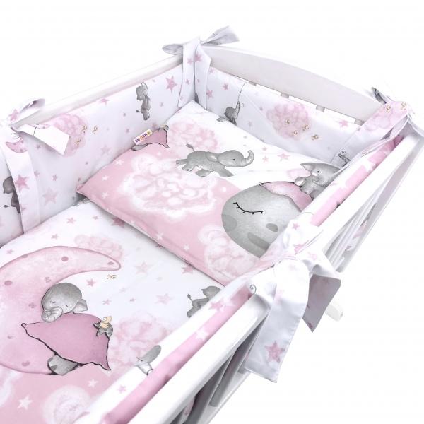 Baby Nellys 6-dílná sada do kolébky Baby Elephant, růžová