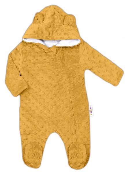 Baby Nellys Kombinézka/overálek MINKY s kapucí a oušky - hořčice, vel. 74