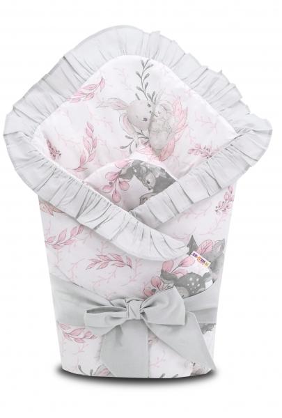 Baby Nellys Rychlozavinovačka s volánkem a stuhou LULU natural, růžová, šedá