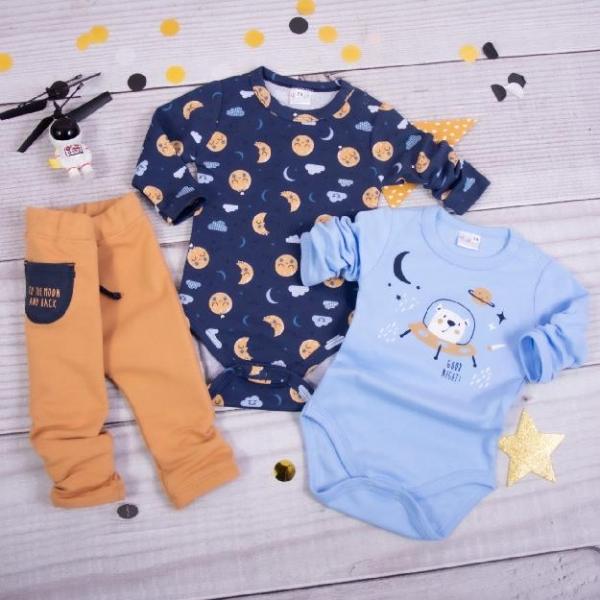 K-Baby 3-dílná sada, 2x body dl. rukáv, tepláčky, Měsíček, modrá, hnědá