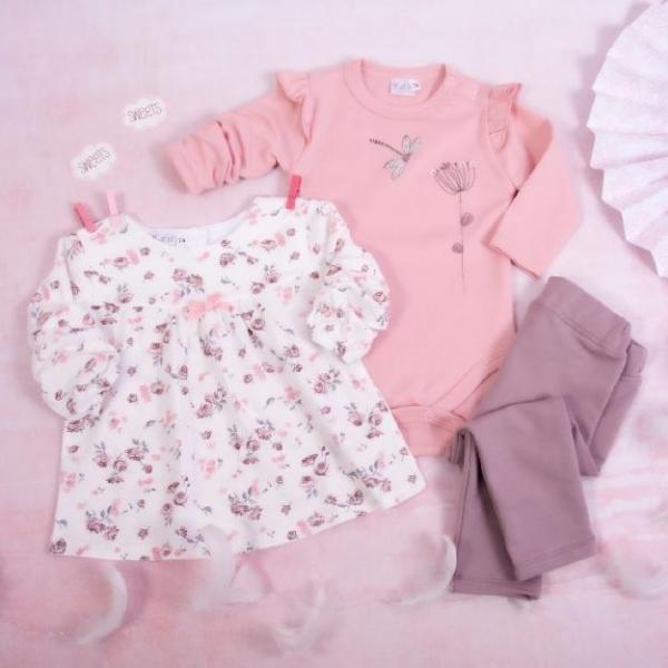 K-Baby 3-dílná sada,1x body dl. rukáv, tunika, legíny - Vážka, růžová, bílá, lila, vel. 80