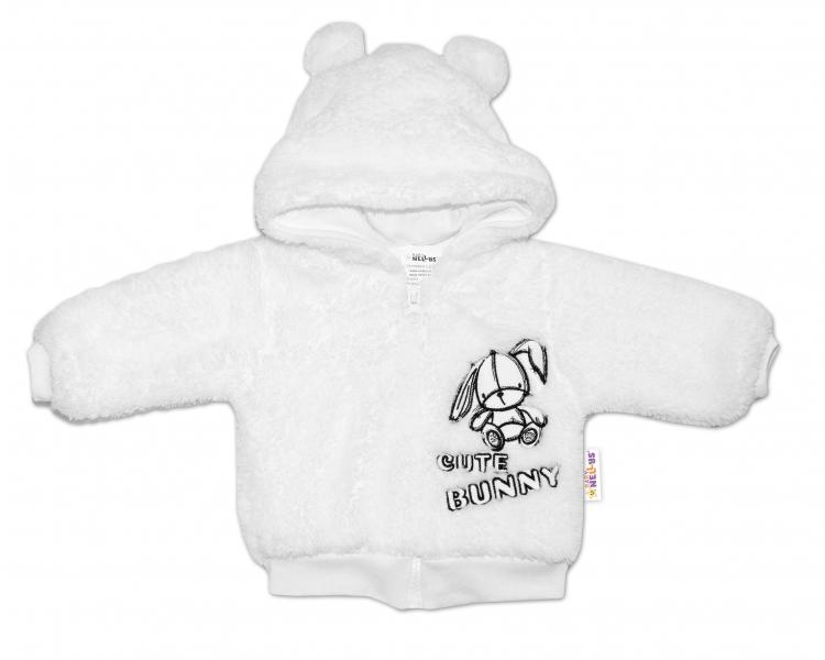 Baby Nellys Kojenecká chlupáčková bundička s kapucí Cute Bunny - bílá, vel. 62