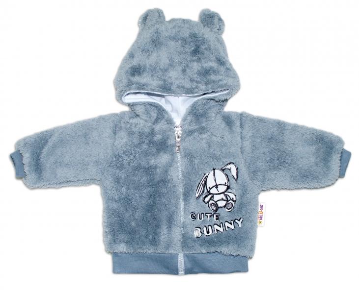 Baby Nellys Kojenecká chlupáčková bundička s kapucí Cute Bunny - šedá
