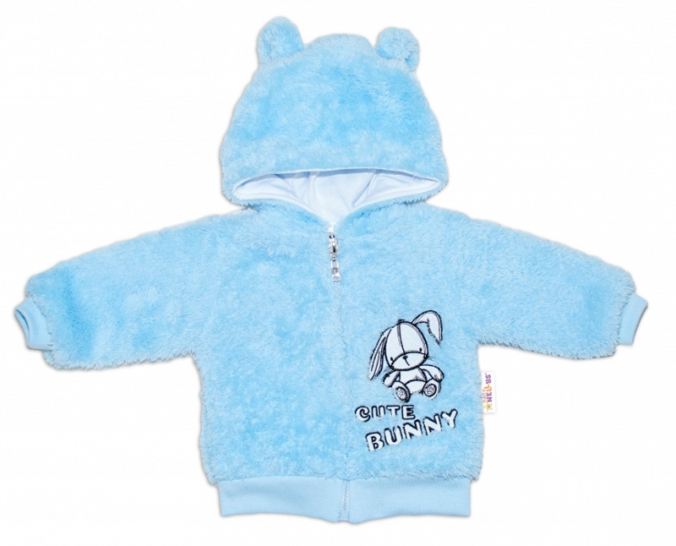 Baby Nellys Kojenecká chlupáčková bundička s kapucí Cute Bunny - modrá, vel. 68