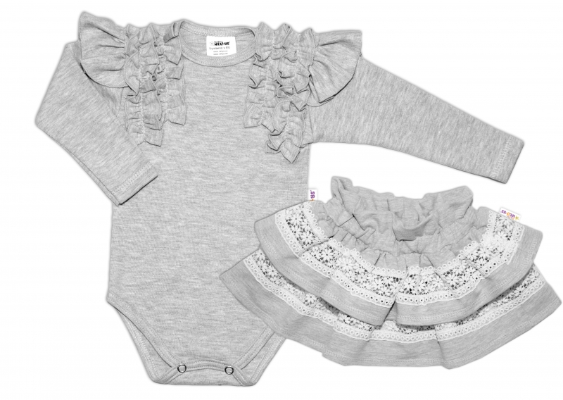 BABY NELLYS  2 dílná sada, body dl.rukáv + suknička s krajkou a volánky, vel. 80, šedá