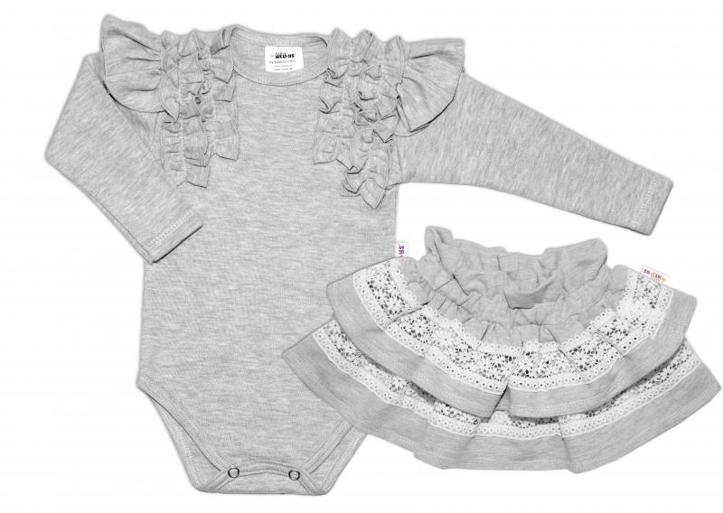 BABY NELLYS  2 dílná sada, body dl.rukáv + suknička s krajkou a volánky, vel. 92, šedá