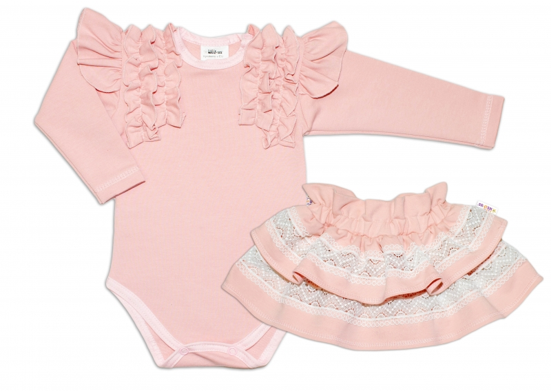 BABY NELLYS  2-dílná sada, body dl.rukáv + suknička s krajkou a volánky, vel. 80, pudrová
