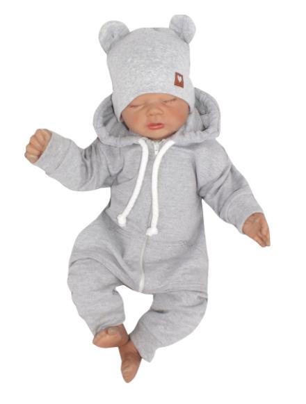 Z&Z Dětský teplákový overálek s kapucí, šedý, vel. 86, Velikost: 86 (12-18m)