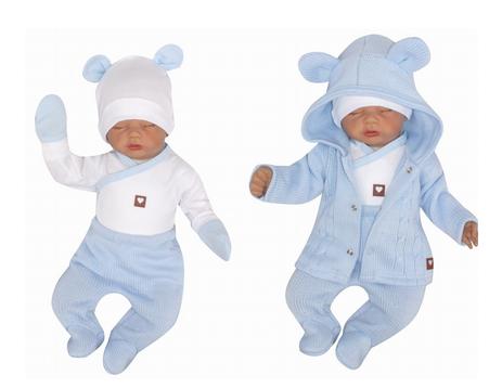 Z&Z 5-dílná kojenecká soupravička pletená do porodnice - modrá, bílá