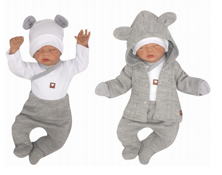 Z&Z 5-dílná kojenecká soupravička pletená - šedá, bílá, vel. 68, Velikost: 68 (4-6m)