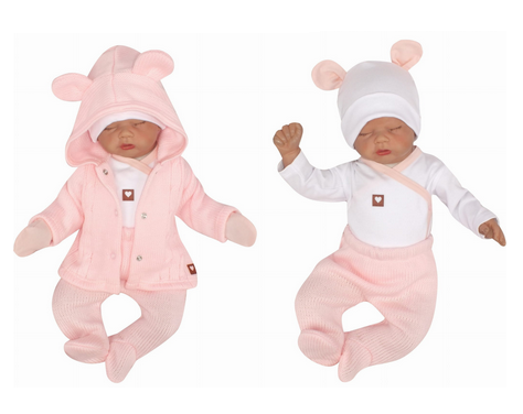 Z&Z 5-dílná kojenecká soupravička pletená do porodnice - růžová, bílá, vel. 62
