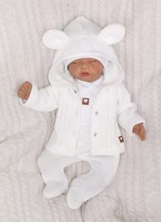 Z&Z 5-dílná kojenecká soupravička pletená do porodnice - bílá