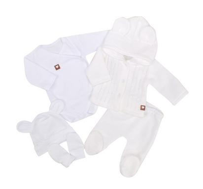 Z&Z 5-dílná kojenecká soupravička pletená - bílá, vel. 68