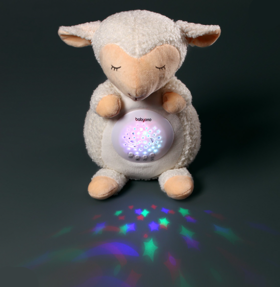 BabyOno Projektor s melodií - Ovečka Scarlet, bílá