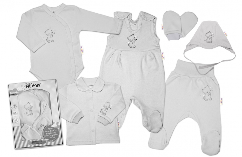Baby Nellys Velká sada do porodnice TEDDY, 6-ti dílná v krabičce, šedá, vel. 62