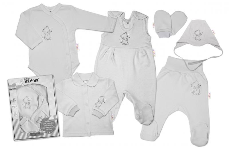 Baby Nellys Velká sada do porodnice TEDDY, 6-ti dílná v krabičce, šedá, vel. 62, Velikost: 62 (2-3m)