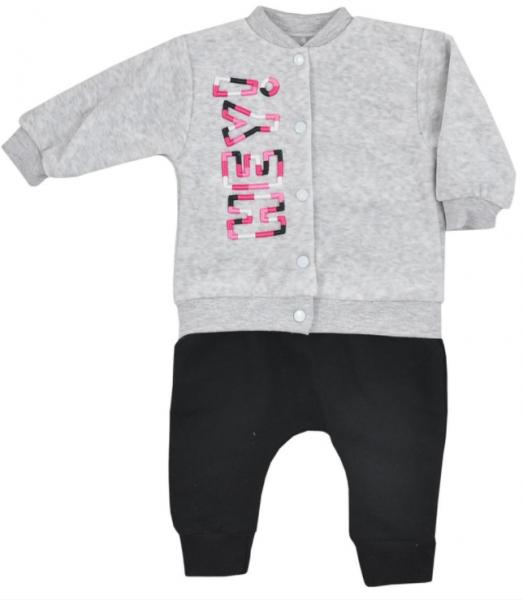 Koala Baby Sada mikinka, zapínání na druky + tepláčky, Hey Girl - sv.šedá/černá
