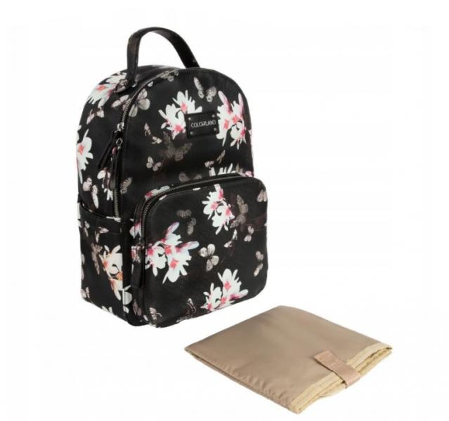 Canpol babies Elegantní koženkový batoh Flower - černý s potiskem