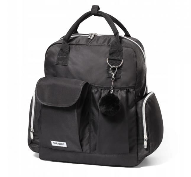 BabyOno Batoh, taška ke kočárku Pom Pom + přebalovací podložka zdarma - černá
