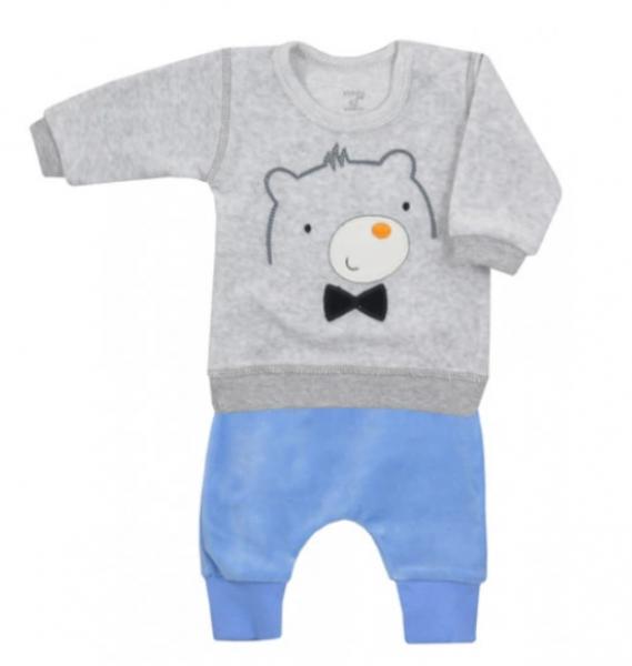 Koala Baby Semiškový komplet mikinka + tepláčky, Medvídek - modro/šedý