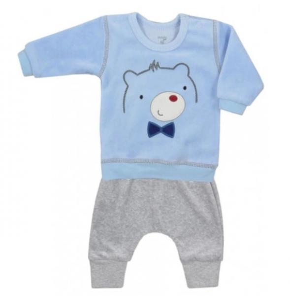 Koala Baby Semiškový komplet mikinka + tepláčky, Medvídek - šedo/sv.modrý