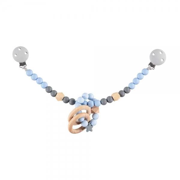 Nibbling Silikonový řetízek s kousátkem na kočárek - modrá / šedá