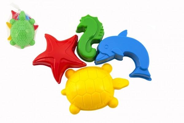 Formičky Bábovky na písek plast mořská zvířátka 4 ks v síťce 10x11x10cm 12m+