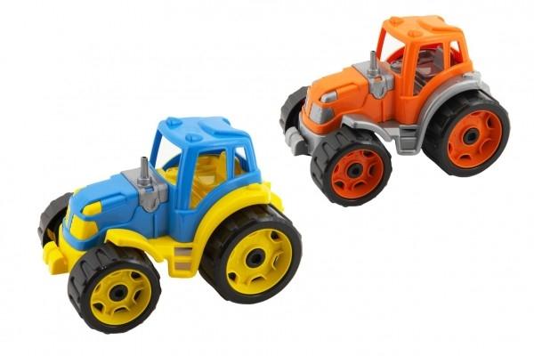 Traktor 24x16cm plast na volný chod 2 barvy 12m+