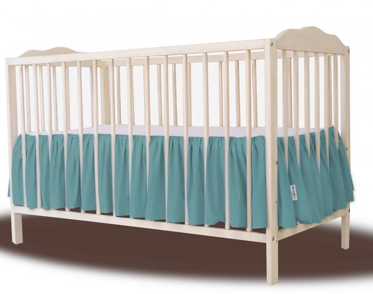 Baby Nellys Bavlněný volánek pod matraci - tmavě zelená, 140 x 70 cm