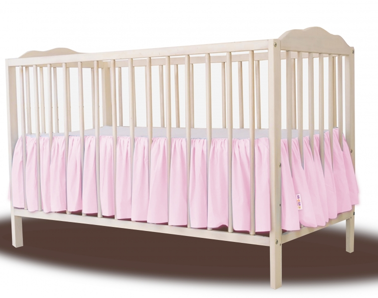 Baby Nellys Bavlněný volánek pod matraci - růžová