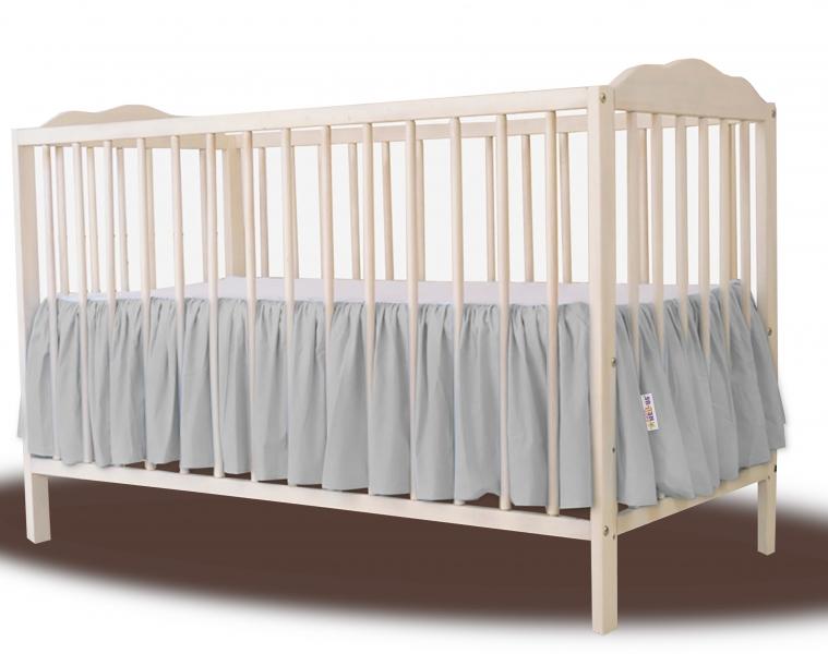 Baby Nellys Bavlněný volánek pod matraci - šedá, 140 x 70 cm