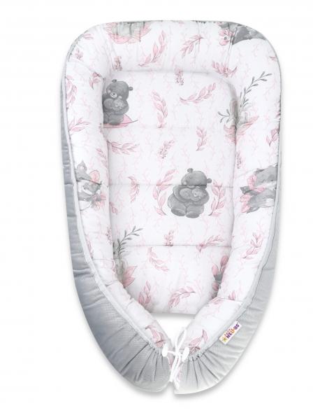 Baby Nellys Oboustranné hnízdečko Velvet, 55x75cm, LULU natural, růžová-šedá