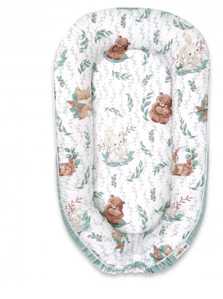 Baby Nellys Maxi oboustran. hnízdečko Velvet pro miminko LULU natural - mátová