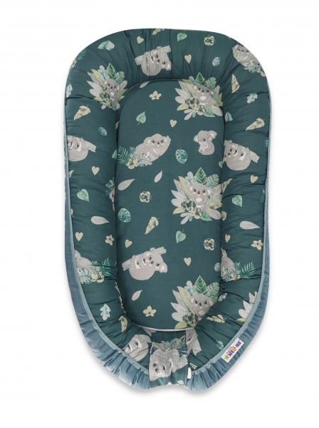 Baby Nellys Maxi oboustran. hnízdečko Velvet pro miminko Tropical Koala - zelená