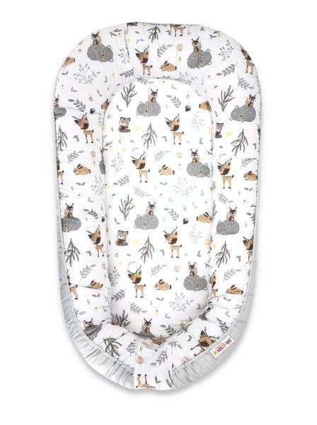 Baby Nellys Maxi oboustranné hnízdečko bavlněné New Forest Friends - béžová, šedá