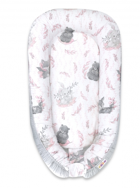 Baby Nellys Maxi oboustranné hnízdečko bavlněné LULU natural - růžová, šedá