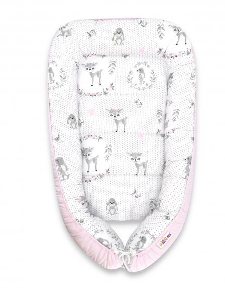 Baby Nellys Bavlněné oboustranné hnízdečko , 55x75cm, Koloušek - růžová